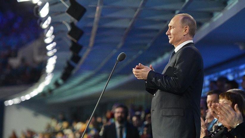 Vladímir Putin en la ceremonia de apertura de los JJ.OO. de invierno de Sochi, el 7 de marzo de 2014