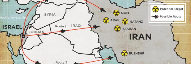 la proxima guerra mapa posibles rutas israel ataque a iran jordania irak turquia arabia saudita